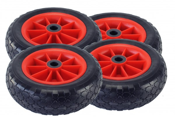 Set of PU-tyres, red wheels, Style